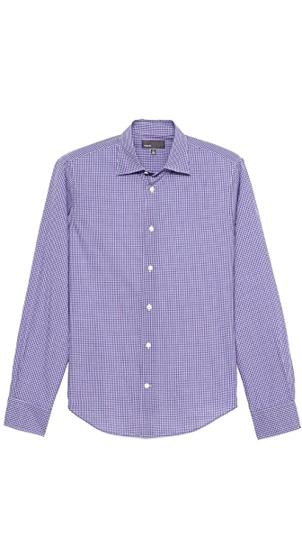 Vince Small Check Dress Shirt