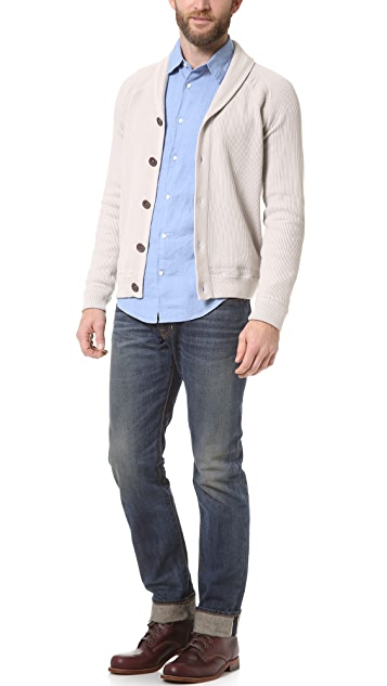 Vince Crepe Cotton Shawl Collar Cardigan