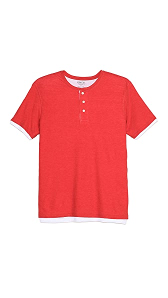 Vince Double Layer Short Sleeve Henley