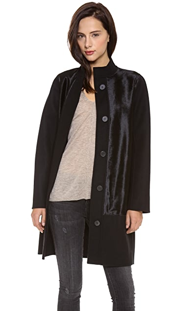 Vince Calf Hair Inset Wool Coat