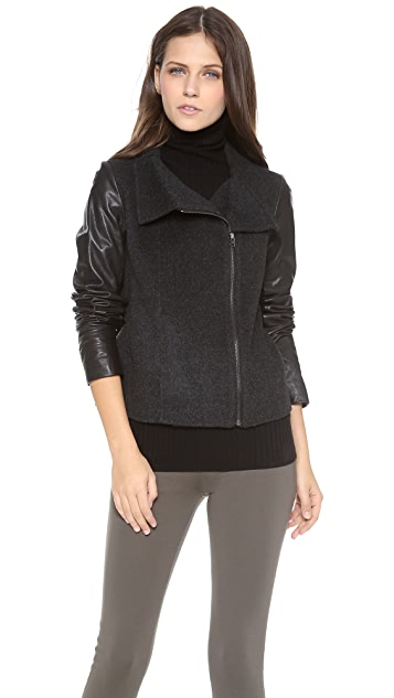 Vince Funnel Neck Jacket with Leather Sleeves
