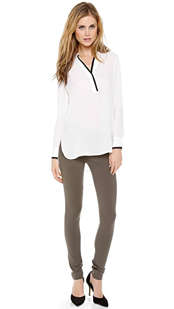 Vince Tipped Contrast Blouse
