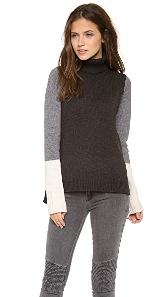 Vince Tricolor Block Turtleneck
