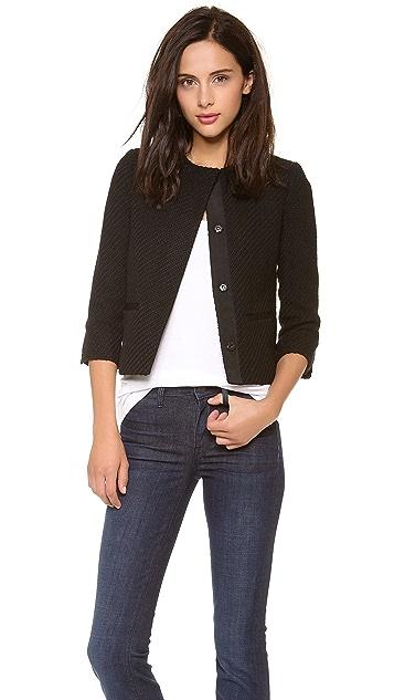 Vince Grosgrain Detail Boucle Jacket
