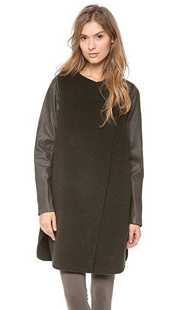 Vince Leather Sleeve Wool Coat