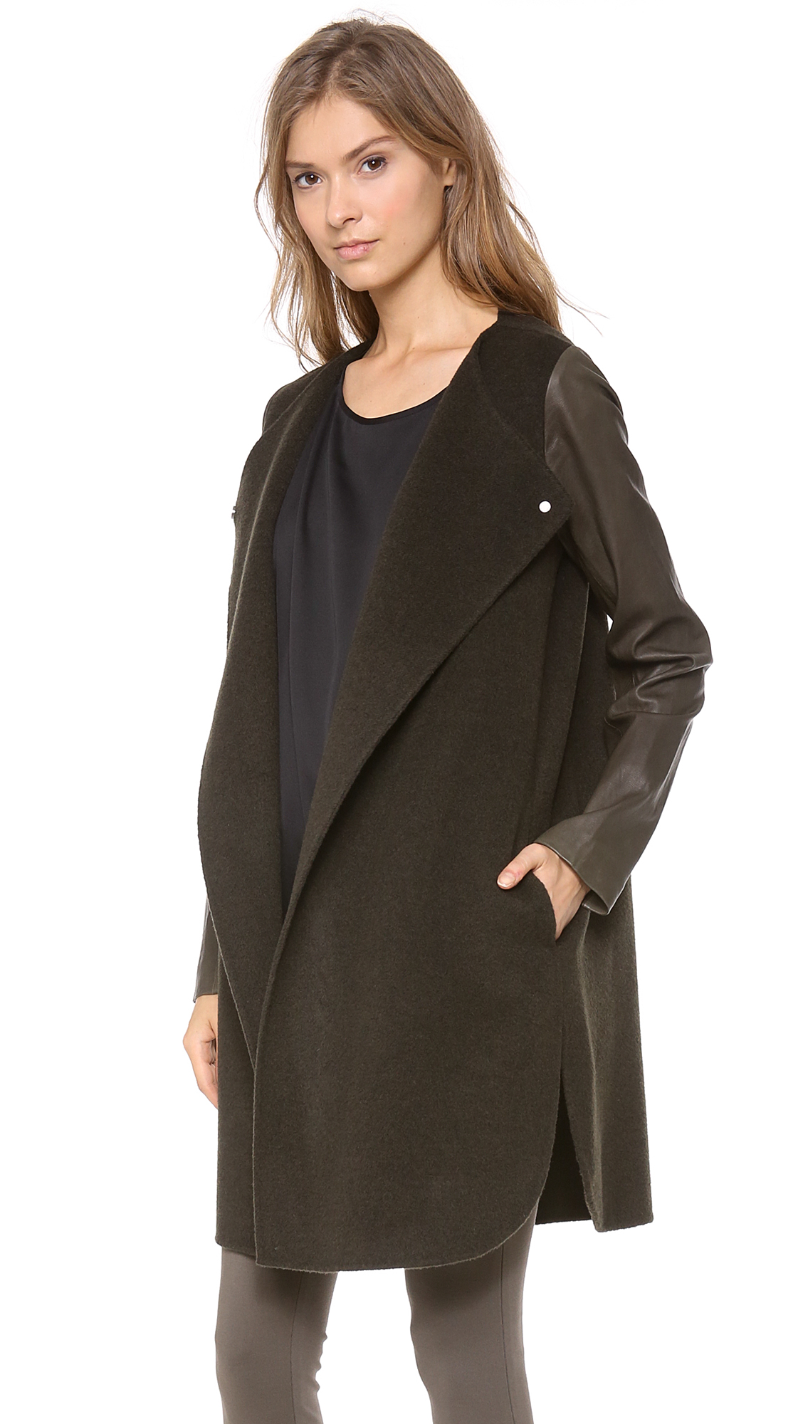 Vince Leather Sleeve Wool Coat | SHOPBOP