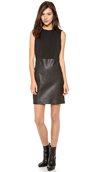 Vince Sleeveless Dress with Leather Skirt