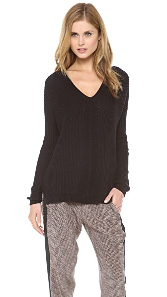 Vince Directional Rib V Neck Sweater