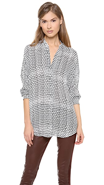 Vince 1/2 Placket Ladder Print Blouse