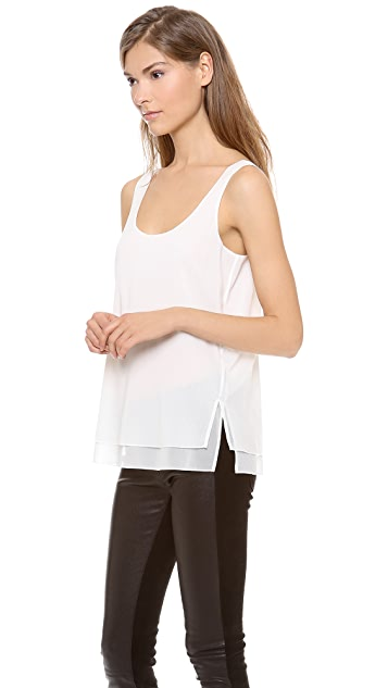 Vince Double Layer Silk Tank