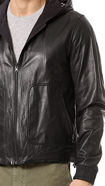 Vince Reversible Leather / Tricot Jacket