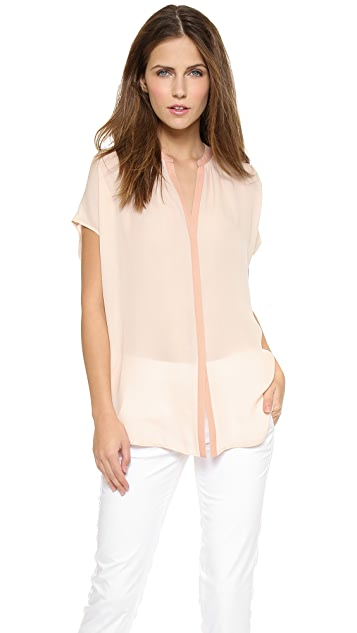 Vince Contrast Placket Blouse