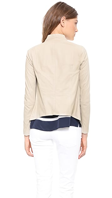 Vince Leather Drape Neck Jacket