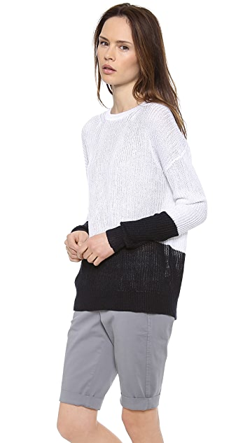 Vince Colorblock Linen Sweater