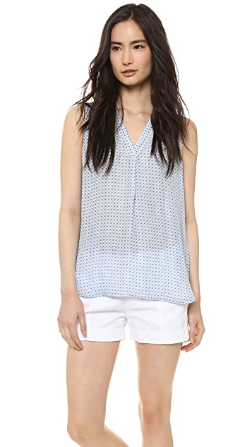 Vince Sleeveless Print V Neck Blouse