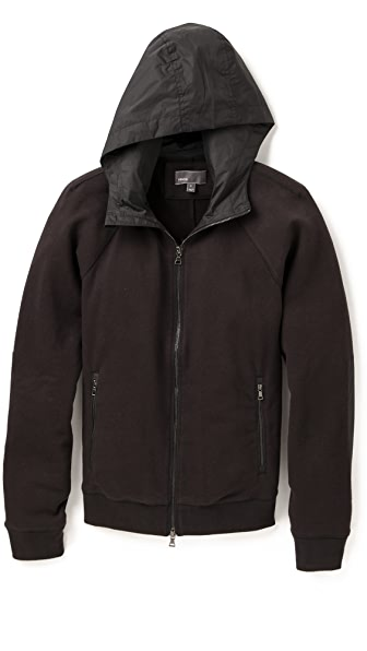 Vince Zip Up Hoodie with Nylon Hood