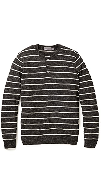Vince Jaspe Striped Henley Sweater