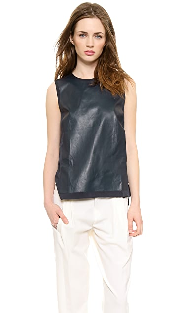 Vince Leather Panel Shell Top