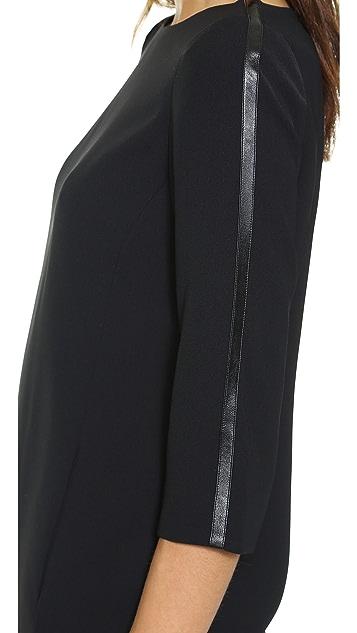 Vince Bracelet Sleeve Dress with Leather