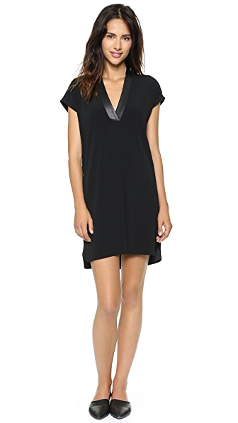Vince Leather Trim Dress