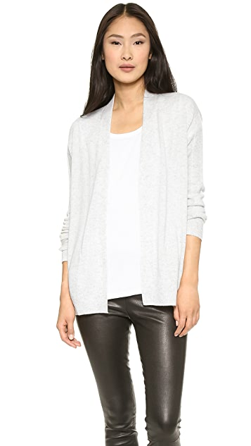 Vince Mixed Gauge Draped Cashmere Cardigan