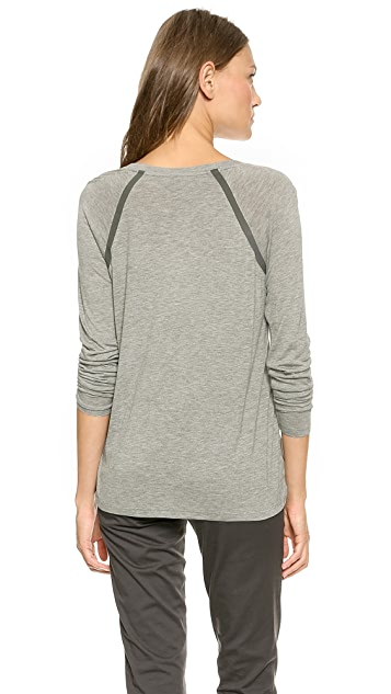 Vince Long Sleeve Satin Contrast Raglan Top