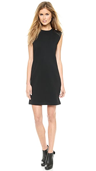 Vince Faux Leather Shoulder Dress