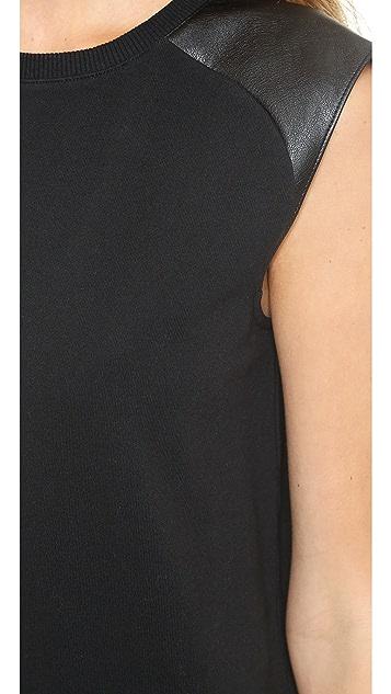 Vince Faux Leather Shoulder Dress
