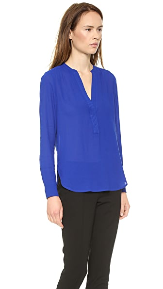 Vince Trapunto Placket Long Sleeve Blouse