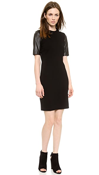 Vince Leather Sleeve Pencil Dress