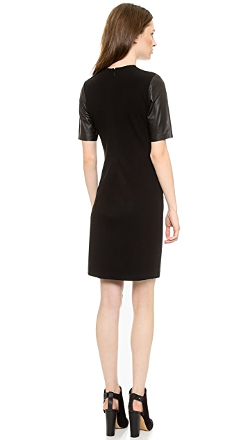 Vince Leather Sleeve Pencil Dress