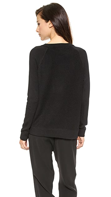 Vince Leather Trim Textured Sweater