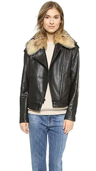 Vince Fur Collar Leather Jacket | SHOPBOP