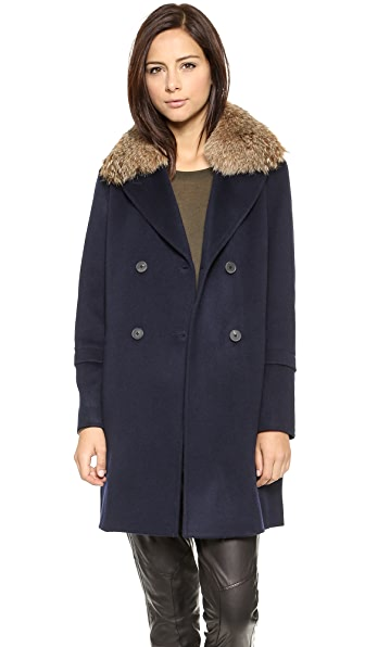 Vince Fur Collar Pea Coat
