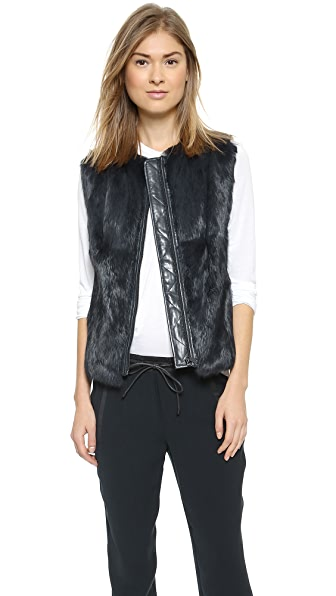 Vince Quilted Leather & Fur Vest