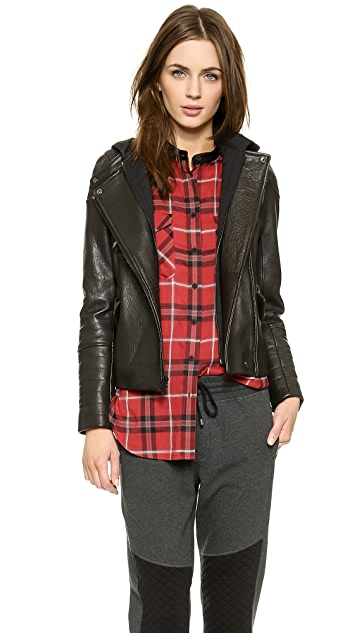 Vince Removable Hooded Moto Jacket