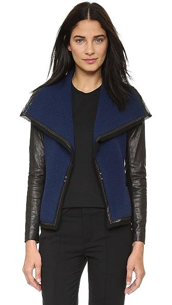 Vince Leather Sleeve Boucle Jacket - Blue Marine/Black