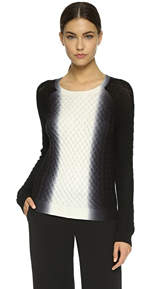 Vince Vertical Dip Dye Cable Sweater In Off White/Black