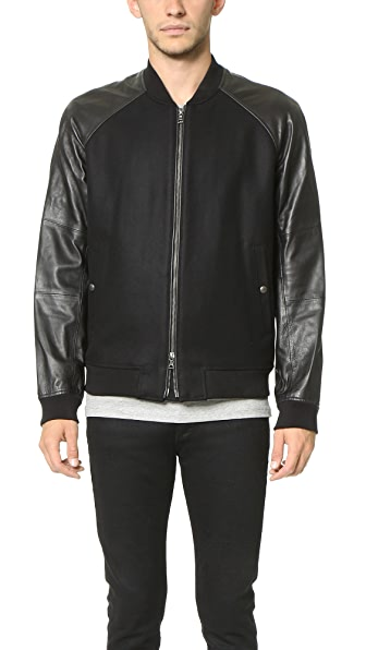 Vince Leather Sleeve Bomber