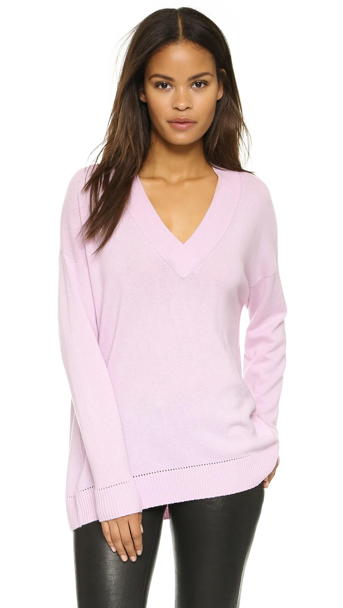 Vince Pointelle Trim Cashmere Sweater | SHOPBOP