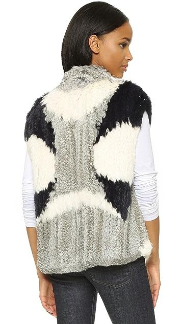 Vince Colorblock Fur Vest