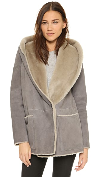 Vince Hooded Shearling Coat | SHOPBOP