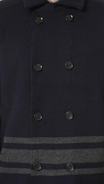 Vince Wool Stripe Pea Coat