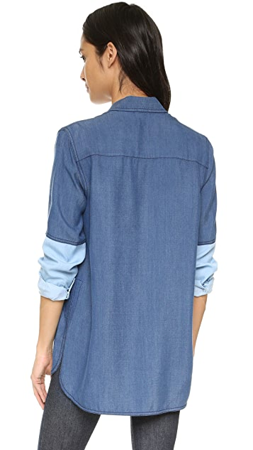 Vince Colorblock Chambray Blouse