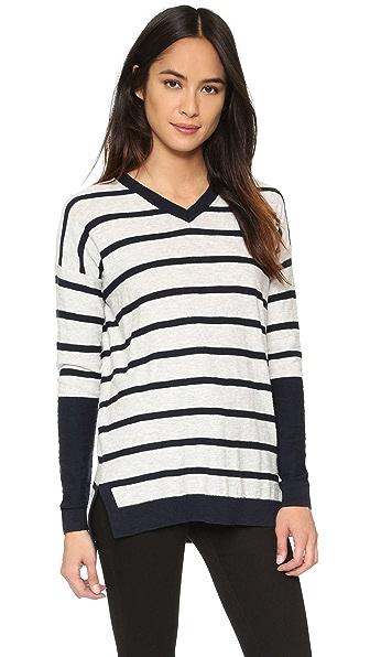 Vince Stripe Block Slim Fit Sweater - H. Cloud/ Coastal