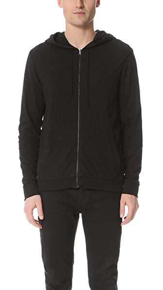 Vince Double Layer Reversible Zip Hoodie