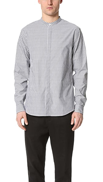 Vince Bar Stripe Banded Collar Shirt