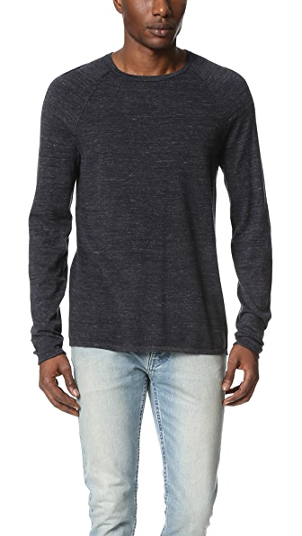 Vince Sporty Jaspe Pique Panel Crew Sweater