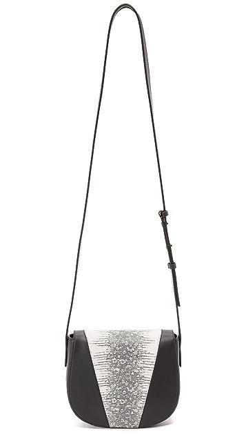 Vince Lizard Embossed Mini Saddle Bag