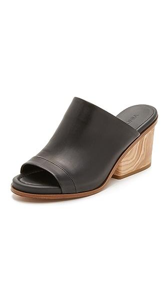 Vince Tilda Wooden Heel Leather Mule Black
